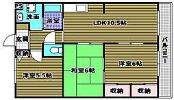 大阪府河内長野市木戸町の賃貸マンションの間取り