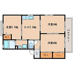 静岡県静岡市清水区渋川の賃貸アパートの間取り
