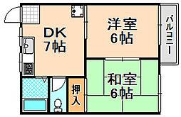 兵庫県伊丹市稲野町1丁目の賃貸アパートの間取り