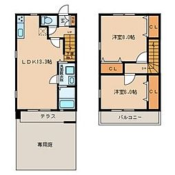 [テラスハウス] 福岡県中間市中間3丁目 の賃貸【/】の間取り