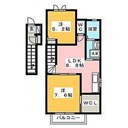 コーポルミエール B棟[2階]の間取り