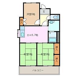 ワールドマンション[4階]の間取り