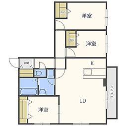 北海道札幌市中央区南八条西1丁目の賃貸マンションの間取り