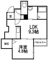 北海道札幌市豊平区月寒東五条8丁目の賃貸マンションの間取り