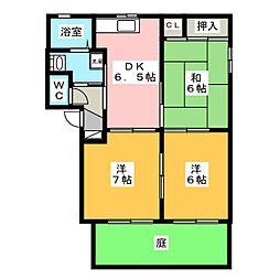 ラ・ヴィラージュ B[1階]の間取り