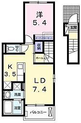 カプリIII 2階1LDKの間取り