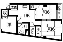 愛知県名古屋市名東区猪子石2丁目の賃貸マンションの間取り