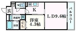 JR東海道・山陽本線 西宮駅 徒歩11分の賃貸マンション 2階1LDKの間取り