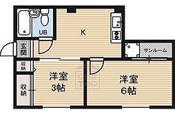 マンションニューシャトー 2階2Kの間取り