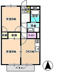 長野県飯田市北方の賃貸アパートの間取り