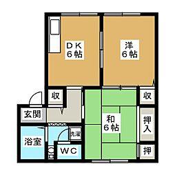 北ウィング・南ウイングN棟[2階]の間取り