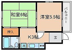 兵庫県神戸市長田区腕塚町8丁目の賃貸アパートの間取り