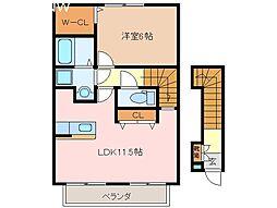 三重県松阪市豊原町の賃貸アパートの間取り