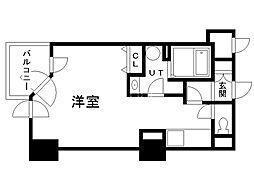 UURコート札幌南三条プレミアタワー 16階ワンルームの間取り