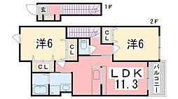 フレグランスA[2階]の間取り