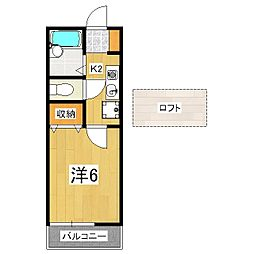京都府京都市山科区北花山河原町の賃貸アパートの間取り