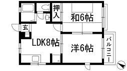 兵庫県西宮市上甲東園2丁目の賃貸アパートの間取り