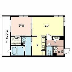 南海高野線 北野田駅 徒歩8分の賃貸マンション 2階1LDKの間取り