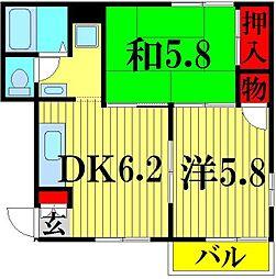 埼玉県越谷市東大沢1の賃貸アパートの間取り