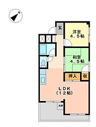 上飯田コーポラス[6階]の間取り