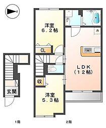 (仮称)久宝寺3丁目賃貸アパート[2階]の間取り
