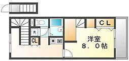 JR予讃線 宇多津駅 徒歩15分の賃貸アパート 2階1Kの間取り