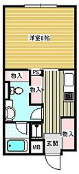 パラドール北加賀屋[116号室]の間取り