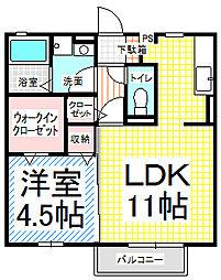 長野県長野市檀田1丁目の賃貸アパートの間取り