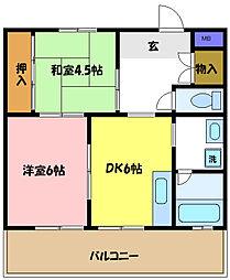 埼玉県さいたま市中央区新中里1丁目の賃貸マンションの間取り