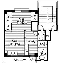ビレッジハウス田布施2号棟4階Fの間取り画像