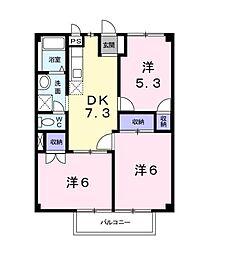 メゾンラメール2[2階]の間取り