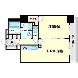 ブランズタワー・ウェリス心斎橋NORTH 22階1LDKの間取り