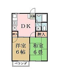 ハマノハイツ2[203号室]の間取り