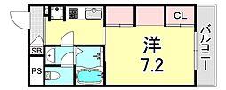 リブリ・江坂 3階1Kの間取り