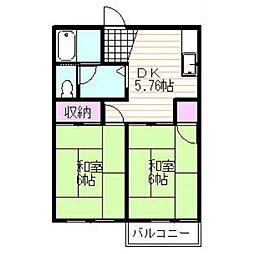 静岡県駿東郡小山町用沢の賃貸アパートの間取り