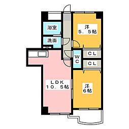 グレースハイツ岩崎[2階]の間取り