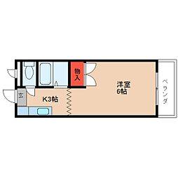 近鉄大阪線 桜井駅 徒歩7分の賃貸マンション 2階1Kの間取り