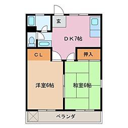 三重県四日市市城東町の賃貸マンションの間取り