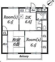 ハイツ新井3[203号室]の間取り