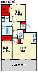 桜橋山荘 D-room[203号室]の間取り