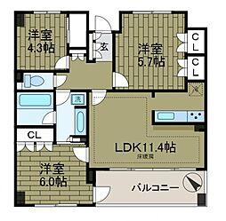 KDXレジデンス町田[6階]の間取り