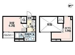 南海線 住吉大社駅 徒歩11分の賃貸アパート 2階1Kの間取り