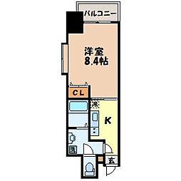 グランポルト樺島 6階1Kの間取り