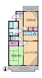 神奈川県横浜市港北区日吉本町2丁目の賃貸マンションの間取り