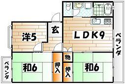 福岡県北九州市小倉南区東貫3丁目の賃貸アパートの間取り