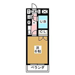 JR山手線 目黒駅 徒歩7分の賃貸マンション 2階1Kの間取り