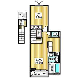 愛知県名古屋市港区善進本町の賃貸アパートの間取り