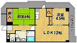 兵庫県明石市花園町の賃貸マンションの間取り