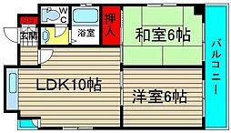 サーティシックス桜川[201号室]の間取り