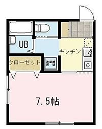 メルヴィーユ新横浜II B棟 2階1Kの間取り